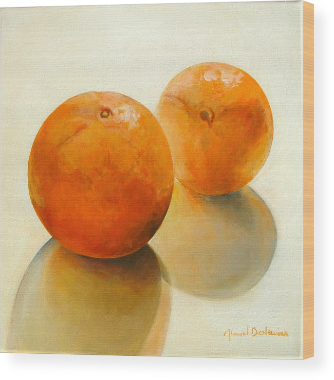 Still Life Wood Print featuring the painting Billes Oranges by Muriel Dolemieux
