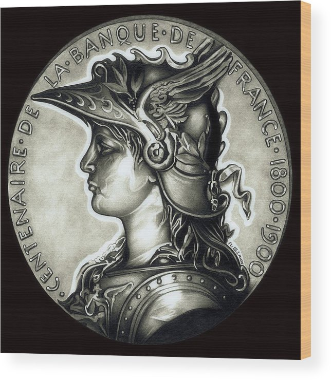 Coin Wood Print featuring the drawing Blackmarianne by Fred Larucci