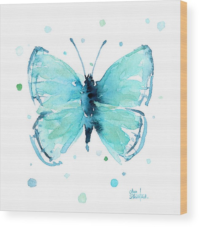 Watercolor Wood Print featuring the painting Blue Abstract Butterfly by Olga Shvartsur