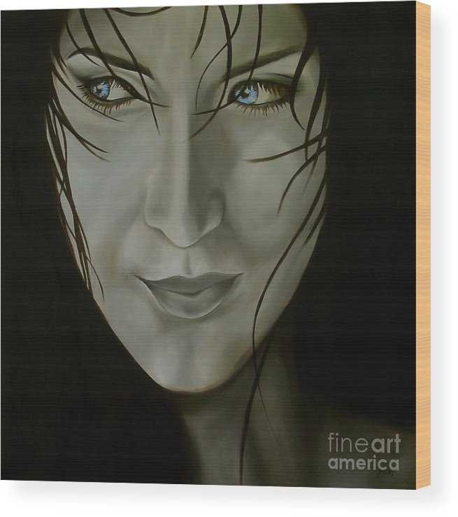 Girl Wood Print featuring the painting Blue-eyed Girl by Jindra Noewi