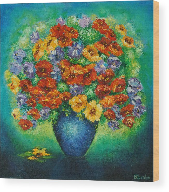 Flowers Wood Print featuring the painting Blue Vase. by Evgenia Davidov