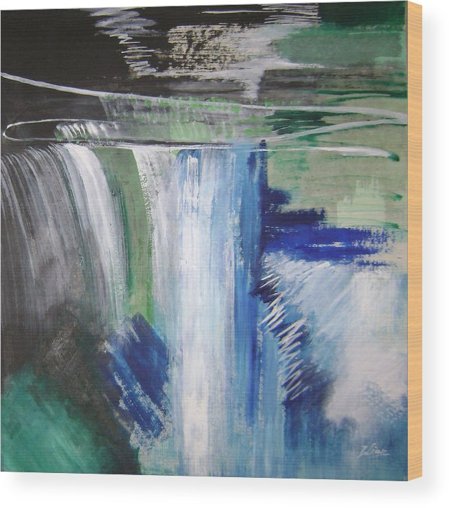 Abstract Wood Print featuring the mixed media Blue Waterfalls by Lian Zhen
