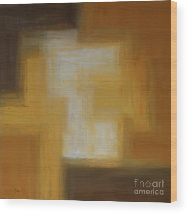 Colors Wood Print featuring the painting Brown Yellow Abstract by Christiane Schulze Art And Photography