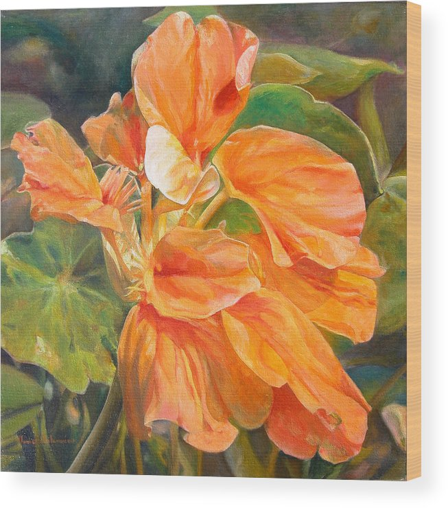 Floral Painting Wood Print featuring the painting Capucine by Muriel Dolemieux