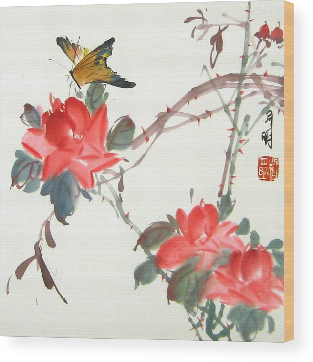 Chinese Painting Wood Print featuring the painting Charm Of Nature by Ming Yeung