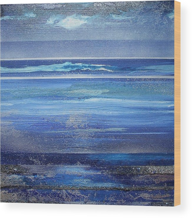Abstract Seascape Blue Wood Print featuring the mixed media Coast Series Blue Am6 by Mike  Bell