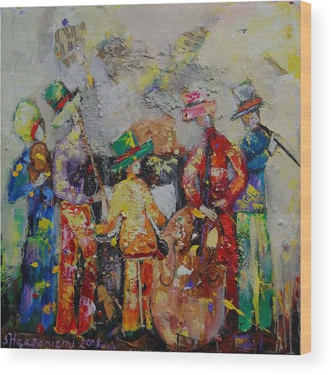 Wood Print featuring the painting Colorful Music by Sari Haapaniemi