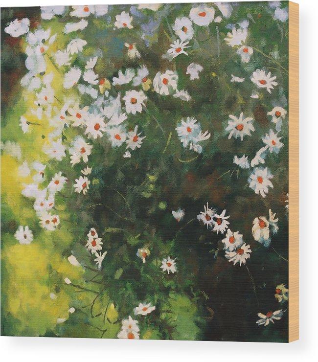 Daisies Wood Print featuring the painting Daisies by Iliyan Bozhanov