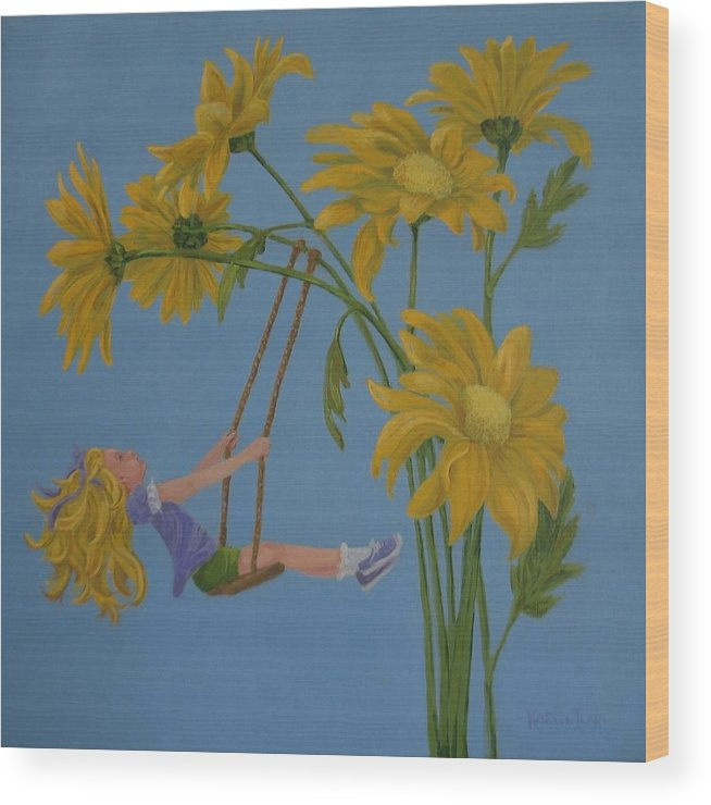 Swinging Wood Print featuring the painting Daisy Days by Karen Ilari