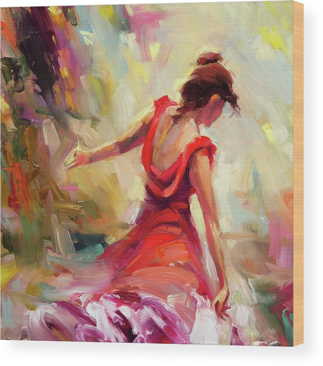 Dancer Wood Print featuring the painting Dancer by Steve Henderson