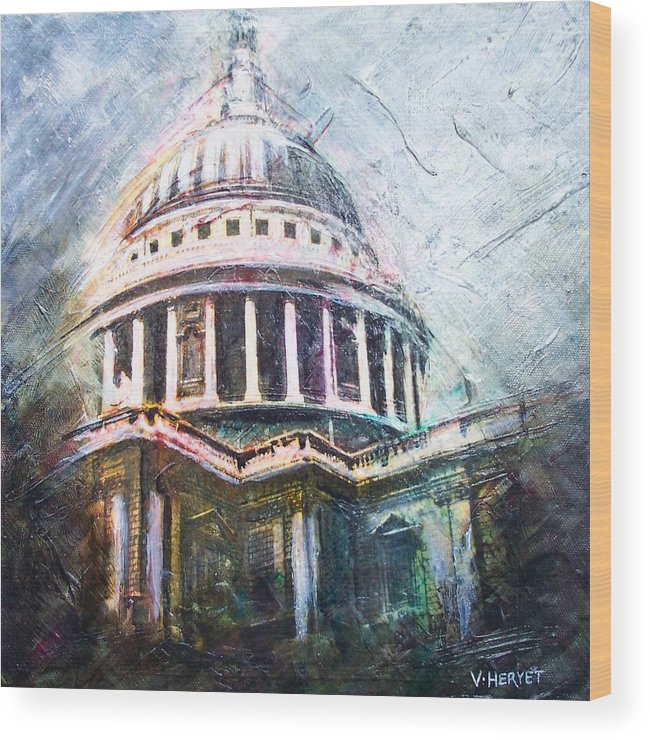 St. Paul's Wood Print featuring the painting Dome Of Saint Pauls by Victoria Heryet