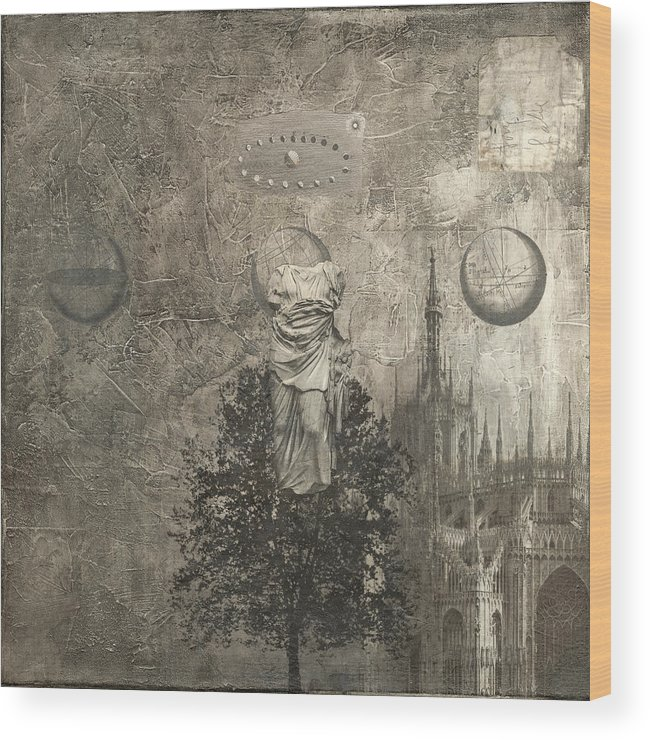Dream Wood Print featuring the mixed media Dream - In Black And White by Dick Allowatt