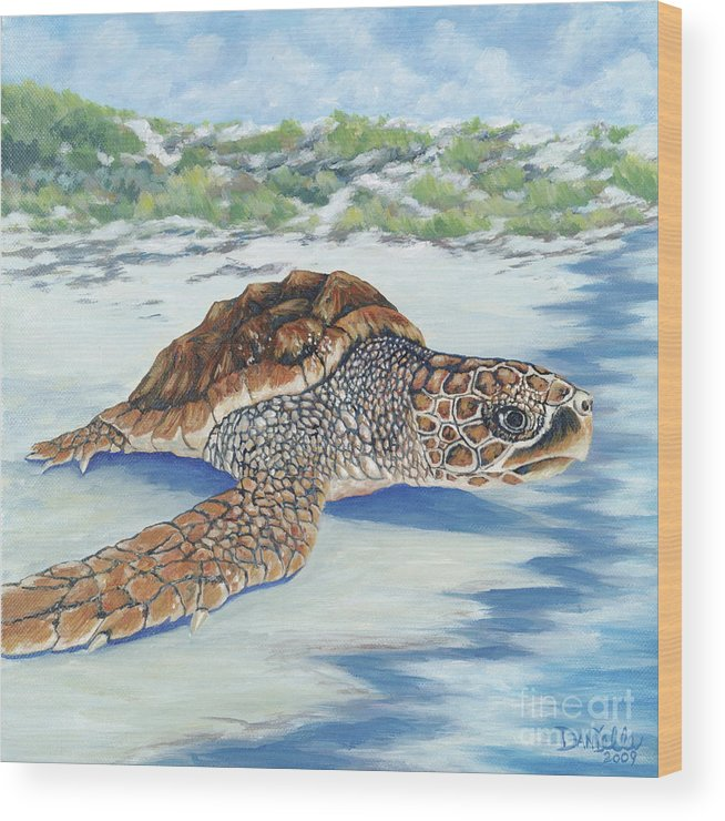 Sea Turtle Wood Print featuring the painting Dreaming Of Islands by Danielle Perry