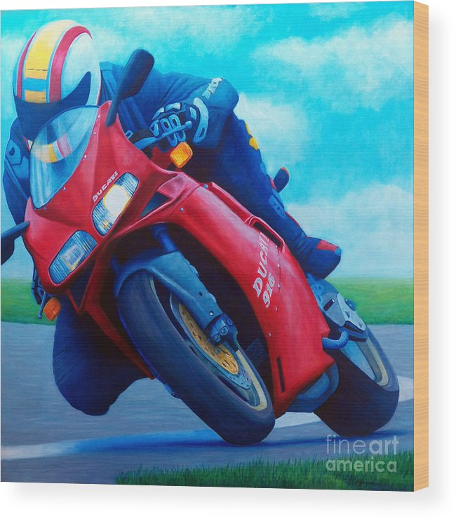 Motorcycle Wood Print featuring the painting Ducati 916 by Brian Commerford