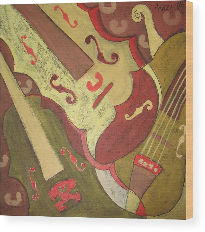 Violin Wood Print featuring the painting Endless Music by Aliza Souleyeva-Alexander