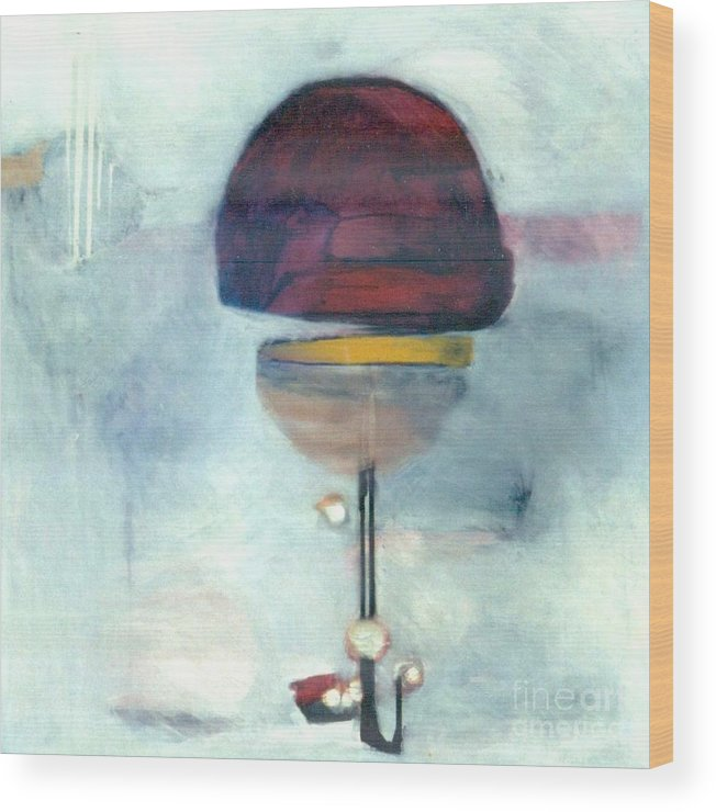 Abstract Wood Print featuring the painting Erev Tops Jump Shot by Marlene Burns