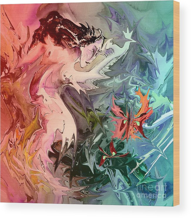Miki Wood Print featuring the painting Eroscape 08 1 by Miki De Goodaboom
