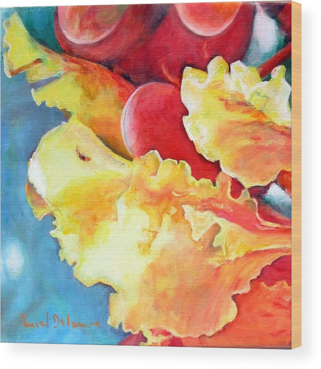 Floral Painting Wood Print featuring the painting Floraison by Muriel Dolemieux