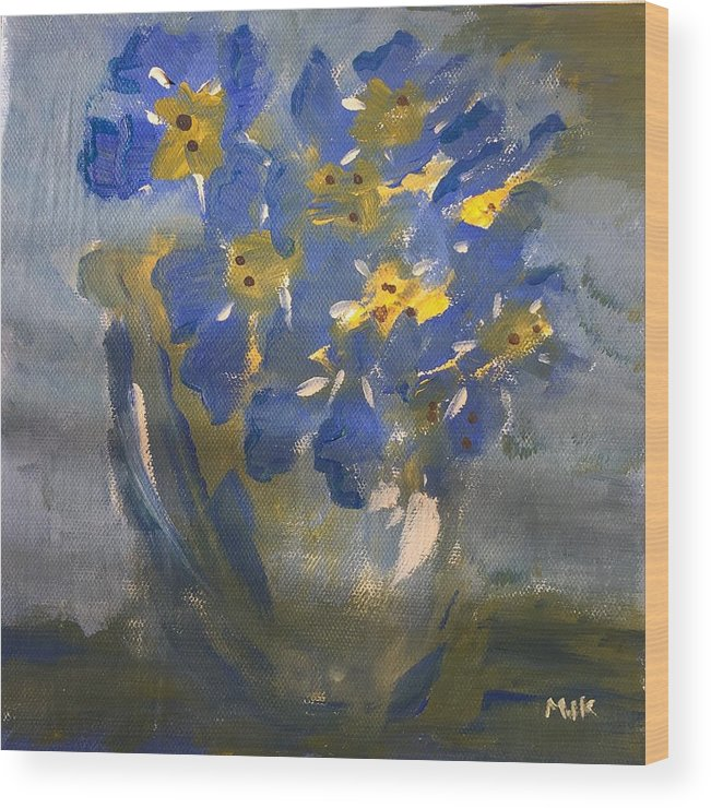 Flowers Wood Print featuring the painting Forget Me Nots by Mary Jo Hopton