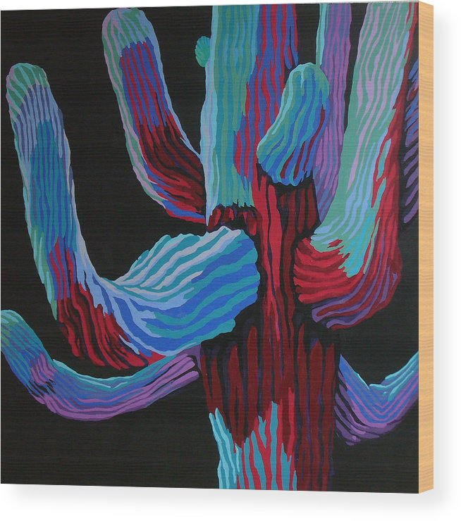 Saguaro Cactus Wood Print featuring the painting Full Moon by Sandy Tracey