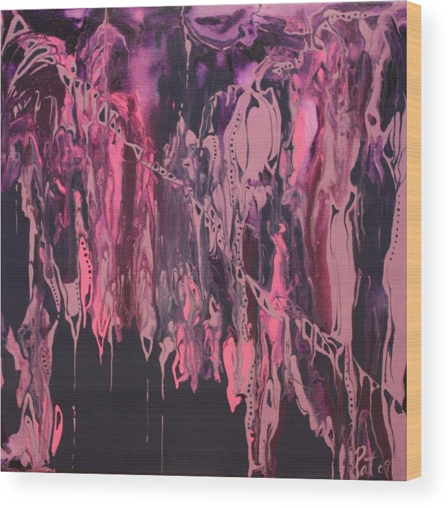 Abstract Wood Print featuring the painting Glamour Puss by Pat Purdy