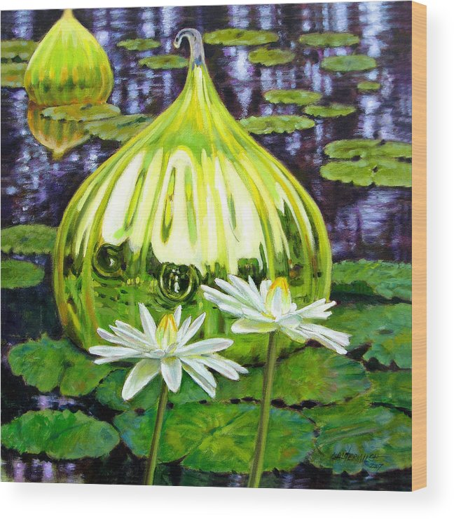 Water Lilies Wood Print featuring the painting Glass Among The Lilies by John Lautermilch
