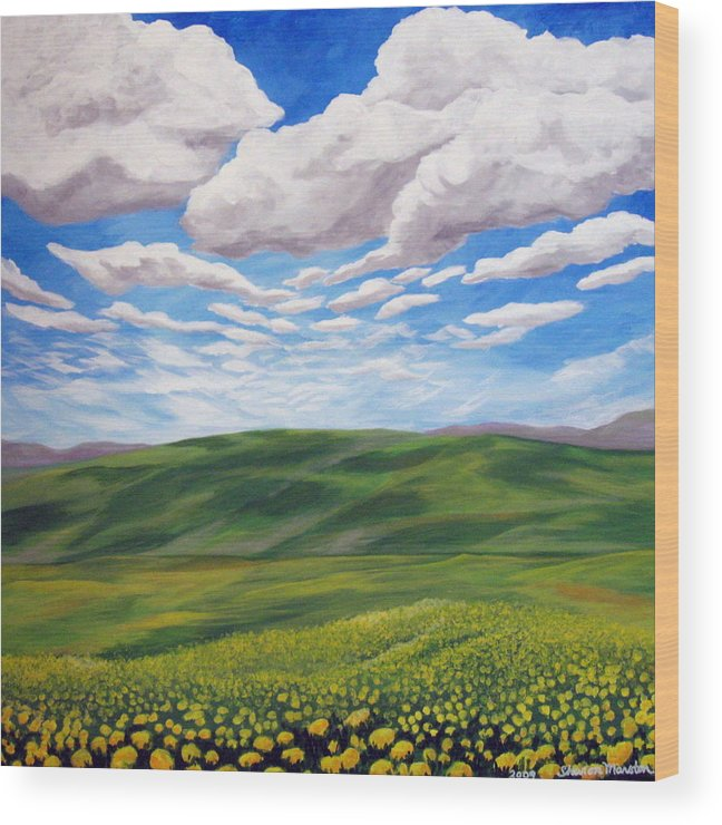 Summer Wood Print featuring the painting Golden Afternoon by Sharon Marcella Marston