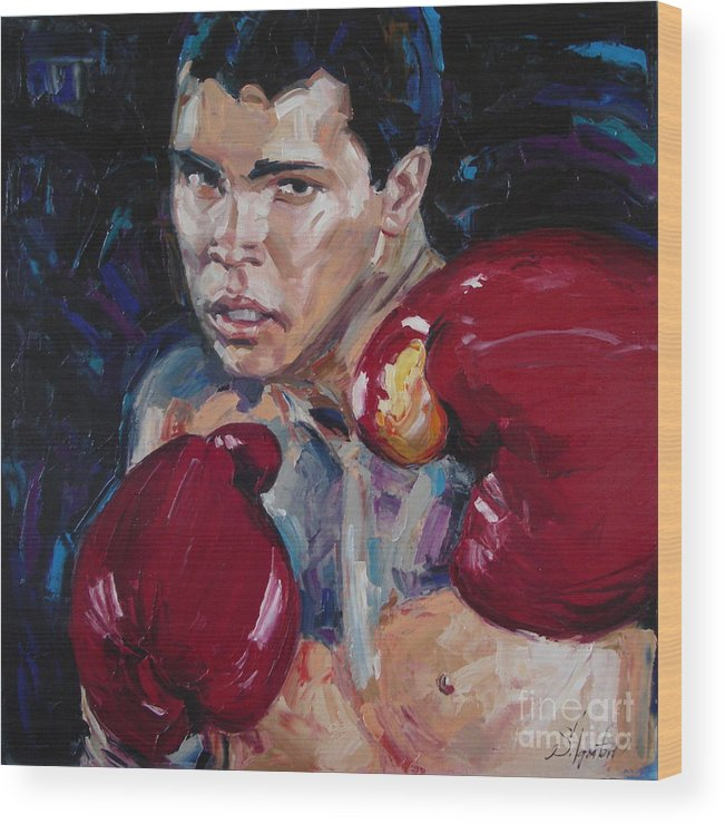 Figurative Wood Print featuring the painting Great Ali by Sergey Ignatenko
