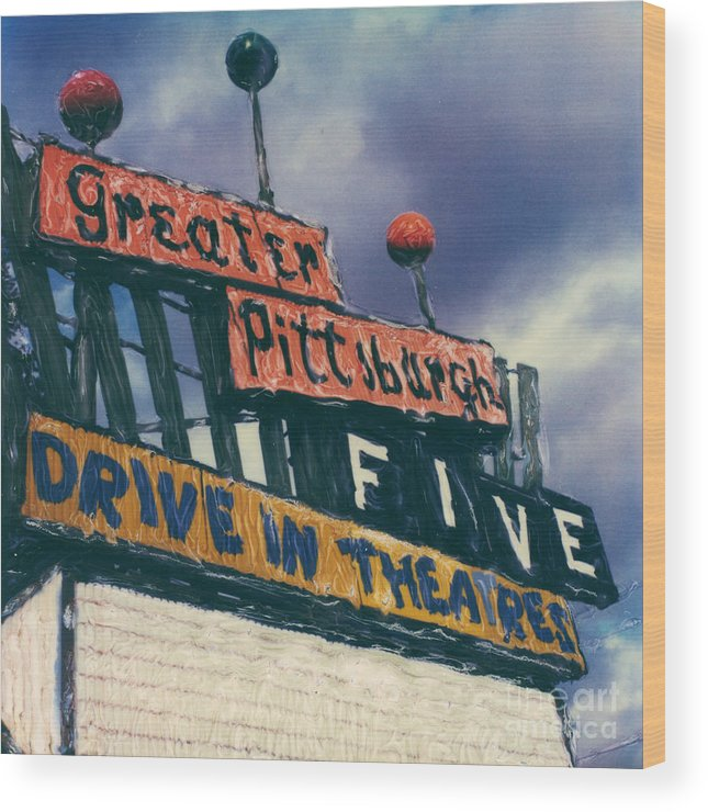 Polaroid Wood Print featuring the photograph Greater Pittsburgh Five Drive-in by Steven Godfrey