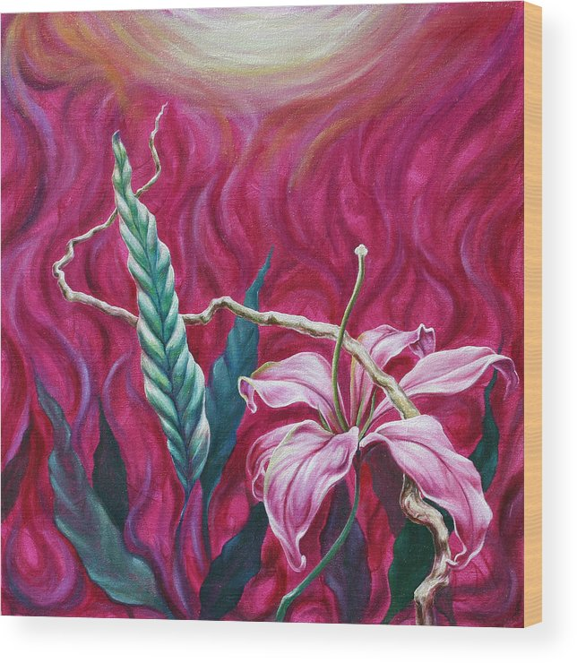 Wood Print featuring the painting Green Leaf by Jennifer McDuffie