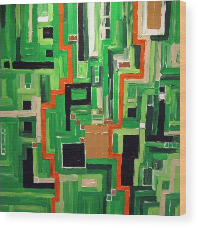 Modern Wood Print featuring the painting Greens by Katerina Wagner