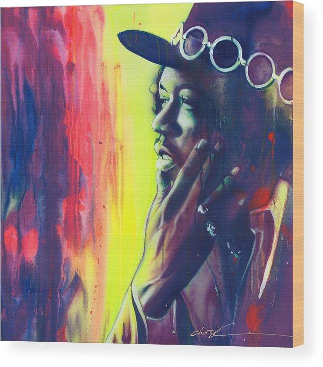 Jimi Hendrix Wood Print featuring the painting Gyspy Sun And Rainbows by Christian Chapman Art