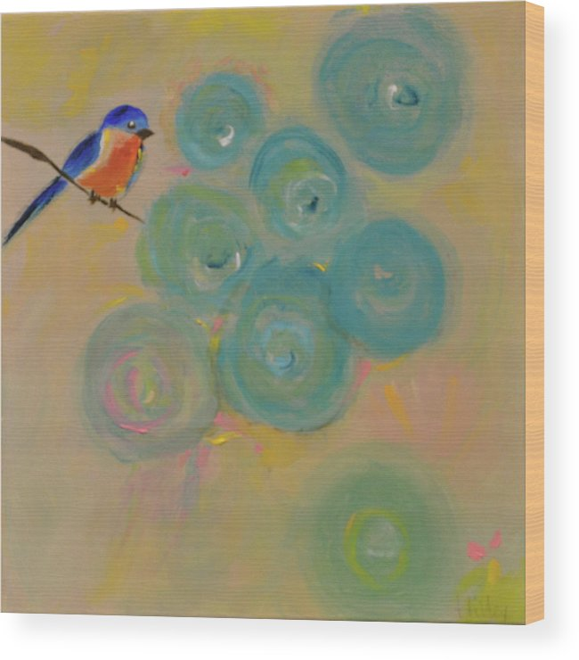Bluebird Wood Print featuring the painting Happiness In Blue by Teresa Tilley