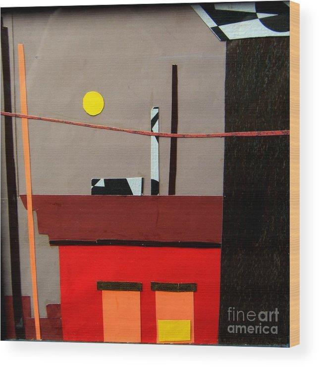 City Wood Print featuring the mixed media Hazy Rooftops 2 by Debra Bretton Robinson