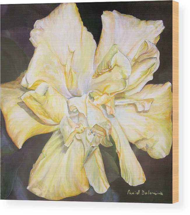 Floral Painting Wood Print featuring the painting Hibiscus Jaune by Muriel Dolemieux