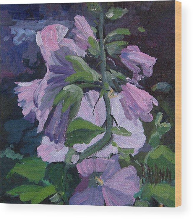 Flower Paintings Wood Print featuring the painting Hollyhocks by J R Baldini