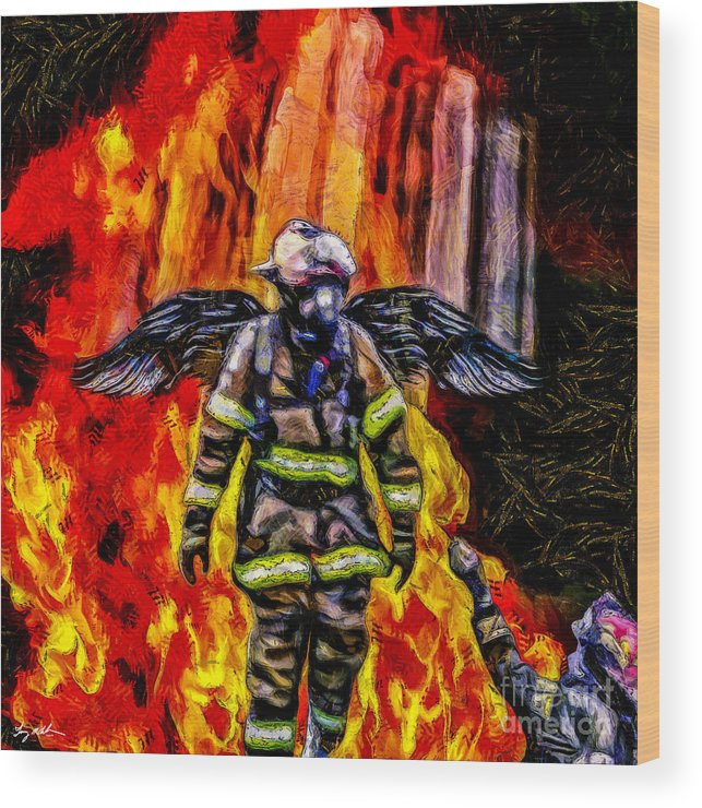 Angel Wood Print featuring the digital art I'll Carry Your Load Brother - Oil by Tommy Anderson