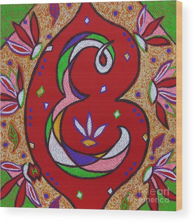 Illuminated Letter E Wood Print by Heather McFarlane Watson