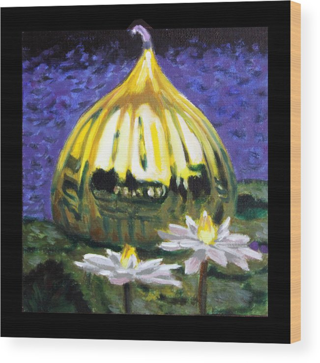 Yellow Blown Glass Wood Print featuring the painting Image Number Eleven by John Lautermilch