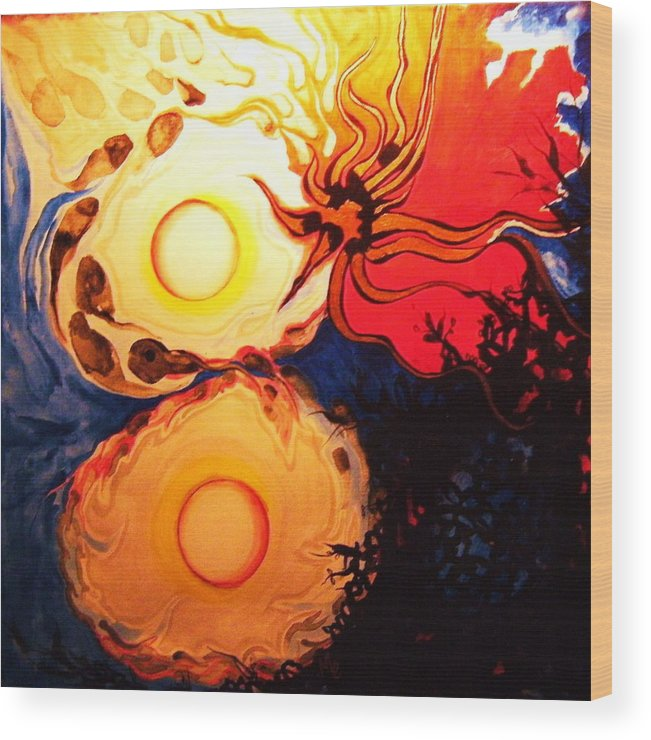 Abstract Wood Print featuring the painting Infinitely 8 by Meshal Hardie