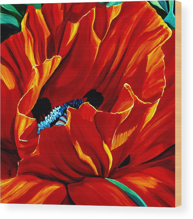 Macro Wood Print featuring the painting Intensity by Julie Pflanzer