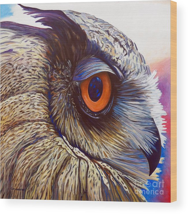Owl Wood Print featuring the painting Introspection by Brian Commerford