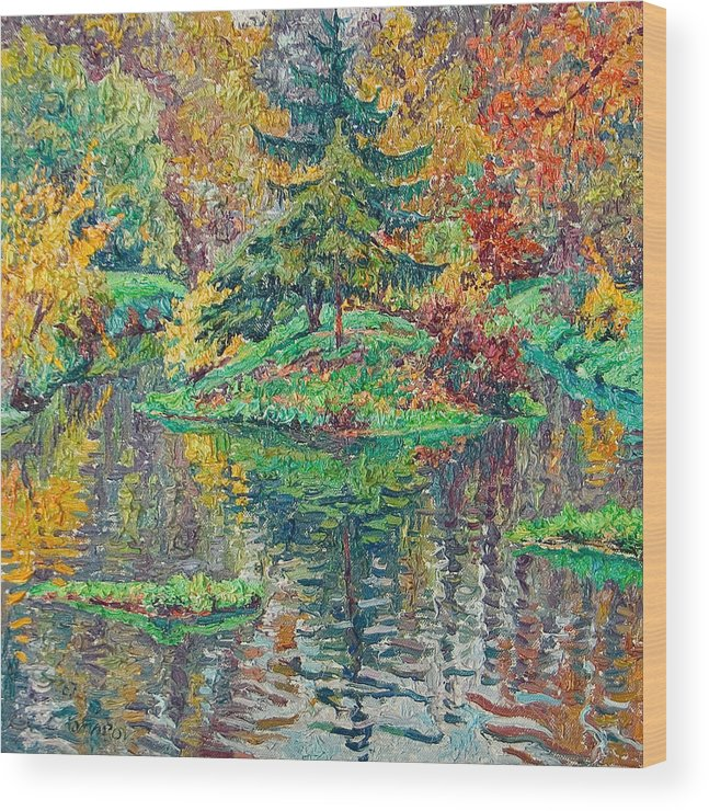 Landscape Wood Print featuring the painting Island On The Park Pond by Vitali Komarov