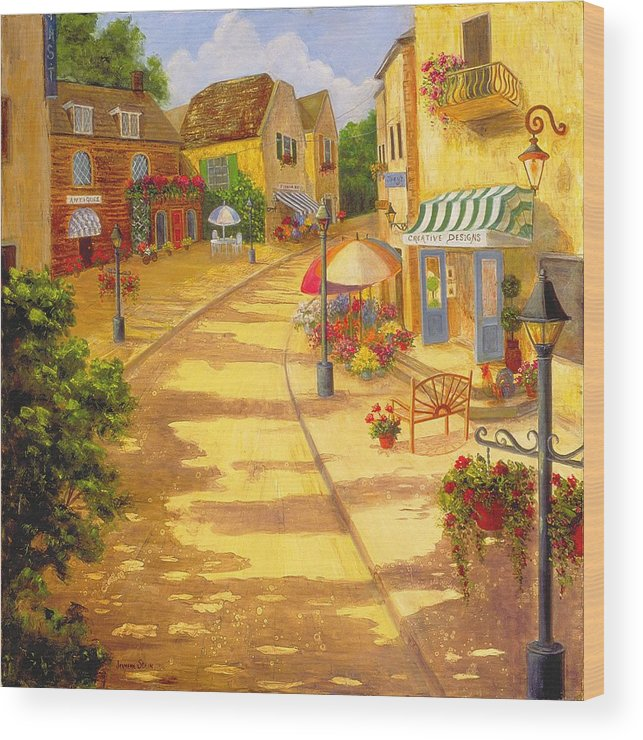 Landscape -italy Wood Print featuring the painting Italian Village by Jeanene Stein
