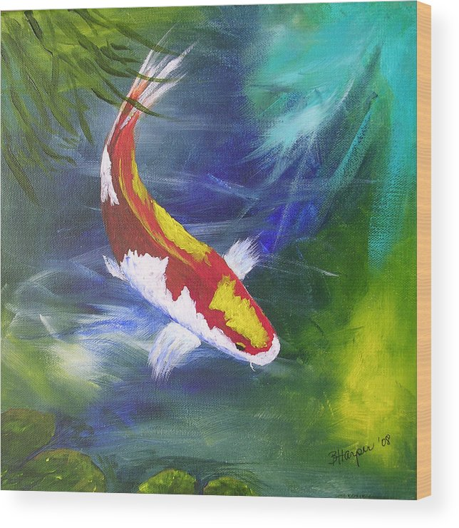 Fish Wood Print featuring the painting Kohaku Koi by Barbara Harper