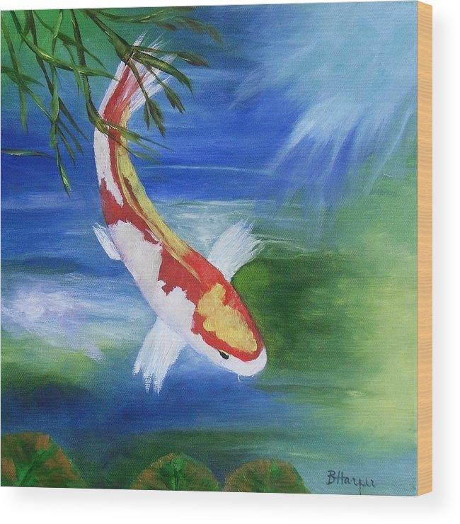 Koi Wood Print featuring the painting Kohaku Koi Fish 2 by Barbara Harper