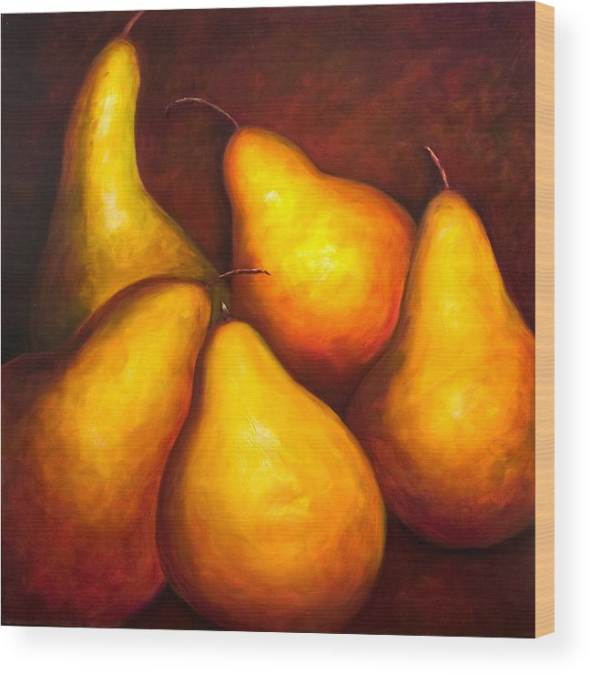 Still Life Yellow Wood Print featuring the painting La Familia by Shannon Grissom