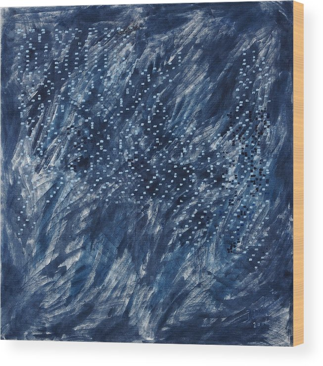 Grey Blue White Painting Pattern Square Wood Print featuring the painting La Poeme by Joan De Bot