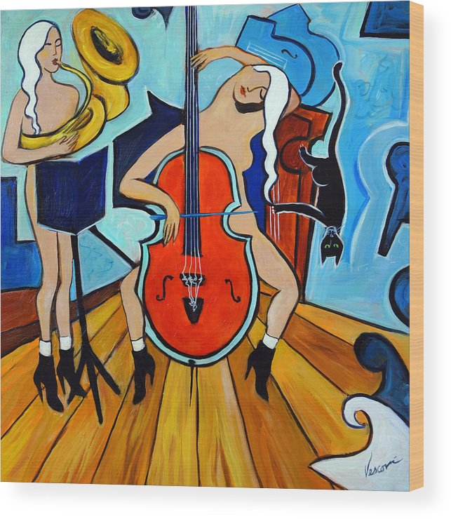 Musicians Wood Print featuring the painting Lady In Red by Valerie Vescovi