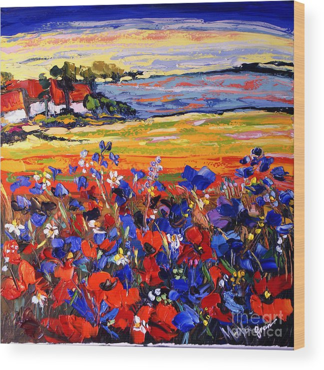 Artwork Wood Print featuring the painting Landscape With Poppies by Maya Green